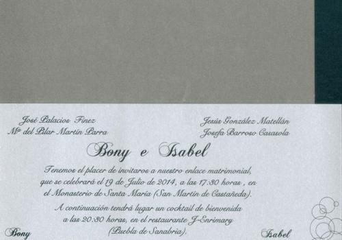 Invitación Bony e Isabel