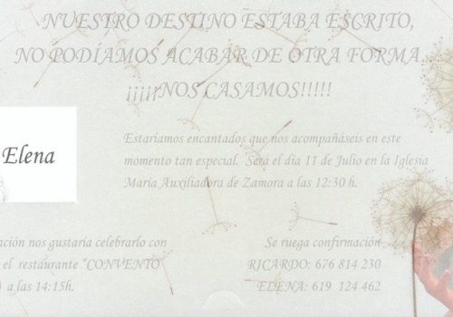 Invitacion de ricardo y Elena